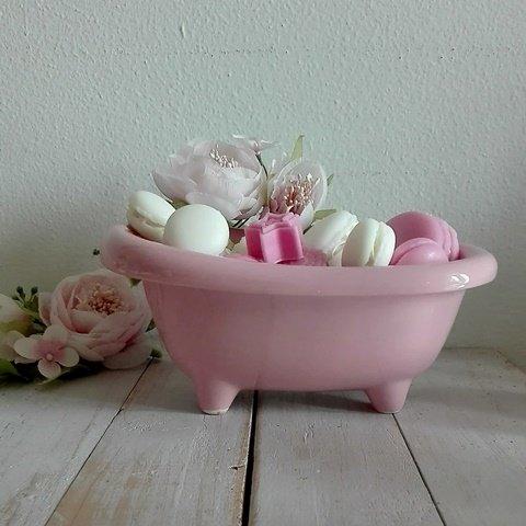 Vasca Da Bagno Rosa.Confezione Mini Vasca Da Bagno In Ceramica Colore Rosa Completa Il Mio Girasole